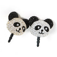 Wholesale Special Korean version of the ultra high quality oil painting Meng cute panda full diamond cell phone headset plug dust plug