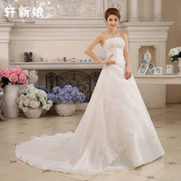 Wholesale Vintage Princess Wedding Dresses Female High Train New Lace Sequins Pleats Women Lace Up Ball Gown Slim Married Pretty Bride