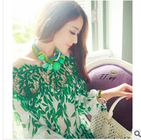 Wholesale Good Quality Fashion Sexy Women Clothes Green Leaves Lace Patchwork Chiffon Shirts Made In China
