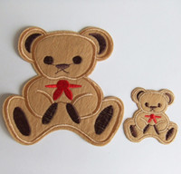 Wholesale Lovely Fabric embroidered cloth patch on appliques cartoon bear shape fashion big small