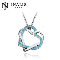 Women Tin alloy Diamond Separations ladies double heart necklace wholesale Chinese style fashion clavicle pendant alloy jewelry exports in Europe and America of the