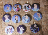 Random delivery Plastic Pendant Pre-sell 2014 Frozen Elsa Anna Kids Gift Pin Badage Snow Queen Olaf Cartoon Children Toys Costume Cosplay Fashion Badge 96pcs lot H0933