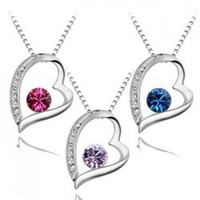 Pendant Necklaces austria swarovski - hot sale mixed colors Austria Crystal Heart Pendant Necklace fashion women quality choker Swarovski Element jewelry necklaces