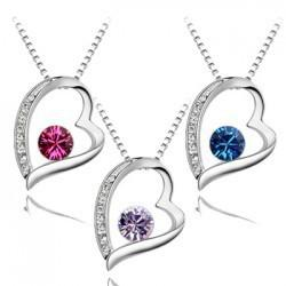 Wholesale hot sale mixed colors Austria Crystal Heart Pendant Necklace fashion women quality choker Swarovski Element jewelry necklaces