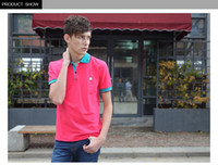 Men Short Sleeve  96%Cotton+4%Spandex Pure cotton Watermelo red Men's Polo shirt Leisure England Stylish Slim Fit short sleeve Boys' T shirt Dignlfied M L XL XXL