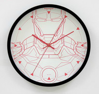 Wholesale wall clocks for geek Iron Man white black red silver metal circle Novelty Item clocks home decor Christmas gift