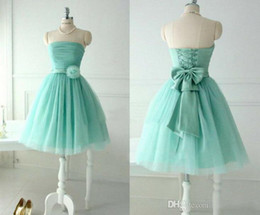 Wholesale 2014 Mint Green Bridesmaid Dresses Beach A Line Strapless Tulle Short Homecoming Gowns with Lace up back and Flower Bow short summer dresses
