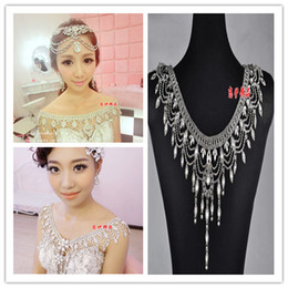 Wholesale In Stock Rhinestones Shining Crystal Necklace Shoulder Set Bridal Jewelry Sets with lace Bridal Wedding Accessory