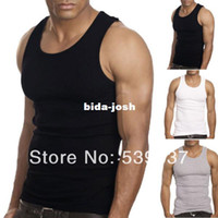 Cotton beater tank - New Muscle Mens Top Quality Premium Cotton T Shirt Beater Ribbed Casual Tank Top