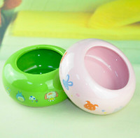 Wholesale Green Pink cartoon print round dog cat rabbit chinchilla ferret ceramic bowl supplies pet bedding feeder