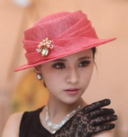 Wide Brim Hat church hats - Hot Sale Fashion New Elegant Women hat sinamay church hat sun shading sinamay fabric hat women dress top hat sun hat three colors available
