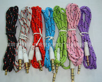 Wholesale 600pc mm Audio AUX Car Extention Cable Braided Woven wire Auxiliary Stereo Jack Male m ft Lead for phone c s CellPhone O Z100