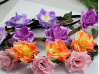 Wholesale New Arrival Bohemian Women Flowers Hair Accessories Beach Wedding Floral Garland Headbands Girl Kniting Flower Leaf Hairbands lotH0378