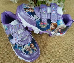 Wholesale 1406z autumn spring kids girl Children princess costume cartoon purple Casual shoes girls anna elsa sports new frozen shoes