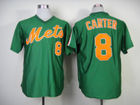 Baseball Men Short Mets #8 Carter Jerseys Throwback Baseball Jerseys Cooperstown Collection Green Jersey Mens Cheap Stitched Jersey High Quality Baseball Wears