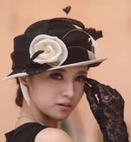 Wide Brim Hat church hats fashion - Hot Sale Fashion Women hat for church winter sinamay hat winter hat elegant women hat mesh two colors available white rose handmade girl hat