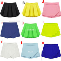 Wholesale new fashion women chiffon mini skirt shorts candy colored culotte zipper trousers plus size