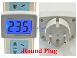 Wholesale LCD V V AC Digital Voltage Voltmeter Household Factory V EURO Round Plug Volt Power Monitor AC Panel Meter B0041