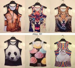 Wholesale 2015 Fashion Sexy tattoo Women Men skull cartoon D vest Sleeveless t shirt Sexy novelty vest T shirt model
