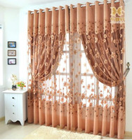 Wholesale Ready Made Curtains and Tulle for Living Room Shade Organza Fabric Curtain for Hotel Luxury Yelow Light Coffee