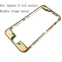 Wholesale For iPhone Front Glass Outer Lens middle Frame Bezel With M Adhensive Black or white Color