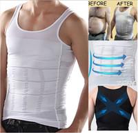 Men Cotton Round 2014 New Fashion Men's Slimming Body Shaper Belly Fatty Underwear Vest Shirt Corset Compression Black And White [CM14001]