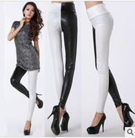Leggings Skinny,Slim Women LG-310 Women's Faux PU Leather Skinny Leggings High-waist Stretch Material Color Matching Patchwork Pants 2 Colors