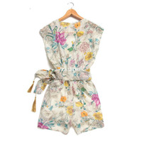 Wholesale career dresses Sexy Deep V Neck Short Pants Women Floral Printing Chiffon Playsuit Jumpsuit I