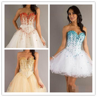 Reference Images Sweetheart Tulle LM Short Crystal Prom Dresses Sexy 2014 Luxury cover Strapless Corset Homeocoming Graduation White Tulle Cheap Gowns