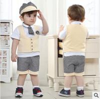 Boy boys t-shirt - 4 Children s Sets Hot Sale Summer Boy Suits Gentleman Style Kids Suits Waistcoat Suits t shirts caps short pants
