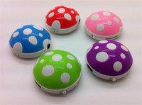 Wholesale 2014 new Fashion Mushroom MP3 Player Kids MP3 Players With A USB Cable And Headset TF SD Micro Memory Card Slot GB Earphone Box