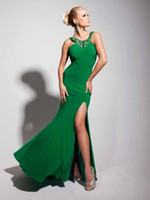 Reference Images Halter Elastic Satin 2014 Hot & Sexy Sheath Slit Beaded Halter See through Back Green Peacock Evening dress Prom Dress Party Gowns