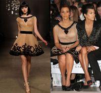 Precio de Vestidos cortos kim kardashian-Gossip Girl 2014 Kim Kardashian Partido vestidos de la cucharada de las mangas del casquillo del cuello desnudo ya Negro Mini Longitud corta de tul vestidos de famosos