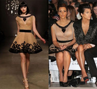 Reference Images Short/Mini Tulle Gossip Girl 2014 Kim Kardashian Party Dresses Scoop Neck Cap Sleeves Nude And Black Mini Short Length Tulle Celebrity Gowns