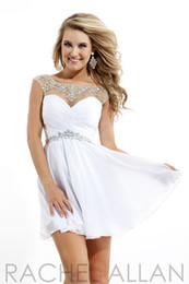 Wholesale Glamorous A line Scoop Chiffon Cap Sleeve Cocktail Dress Crystal Belt Backless Homecoming Dress