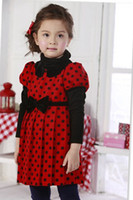 Wholesale 2014 Autumn fashion dresses in Korea Thick Polka dot fabric British style Peter pan collar BOW Cute baby clothes Pleated winter dress D037