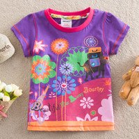 Girl Summer Standard 2014 hotsale New Children Clothing Baby Clothes Girls cartoon flowers T-shirt Cute Baby girl clothes Cotton princess tee top t-shirts