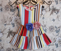 TuTu Summer A-Line In the summer of 2014 the new female children's clothing wholesale belt chromatic stripe vest dress of kids girl baby princess dress GX546