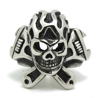 american spanner - 316L Stainless Steel Cool Punk Gothic Spanner Flaming Biker Skull Newest Silver Ring Factory Price