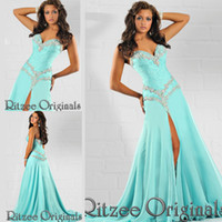 Model Pictures Sweetheart Chiffon Ritzee Original Aqua Long Evening Dresses 2015 classical Design Sweetheart Prom dresses A-Line Ruffle Vestidos De Noiva WD720