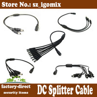 Wholesale dc power splitter cable to to to to to dc splitter cable for security camera led strip etc