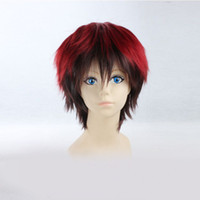 Wholesale Red Mix Black Straight Cosplay Wig with Bang Fashion Anti heat Anime Synthetic Hairpiece