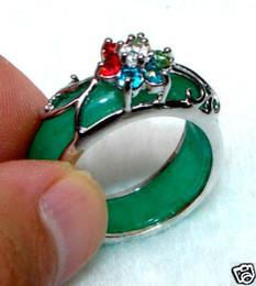 beautiful chinese green jade crystal ring4pc - Jade Wedding Ring
