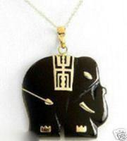 Asian & East Indian Unisex Alloy Elegant Black Jade Elephant Pendent Necklace