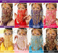 Sequin sari - free ship hand made mesh belly dance sari face veils plum flower veil Indian dance costume jewelry props
