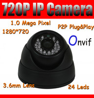Wholesale 1280 Dome IP Camera P HD Network Camera Megapixel IR CUT Day Night P2P Plug and Play Indoor Security Camera Support Onvif