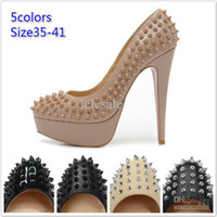 Wholesale New womens sexy platform pump brand designer genuine leather ladies high heels pointed toe spiked dress shoes Free shippi