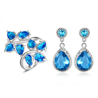 Wholesale Luckyshine new fashion brand earrings and ring sets Wedding Jewelry High Quality Bride Jewelry Set austrian crystal jewelry sets