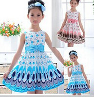 Wholesale hot sale Kids Girls Dress cute peacock color sleeveless princess dress circle Korean Fashion Blue children s clothing New