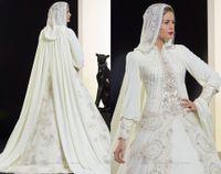 Wholesale 2014 Saudi Arabia Muslim Long Sleeve Wedding Dress High Collar Pearls Beading Draped Chiffon Sweep Train Luxury A Line with Cloak Back B